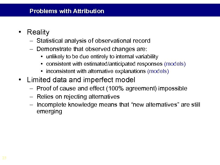 Problems with Attribution • Reality – Statistical analysis of observational record – Demonstrate that