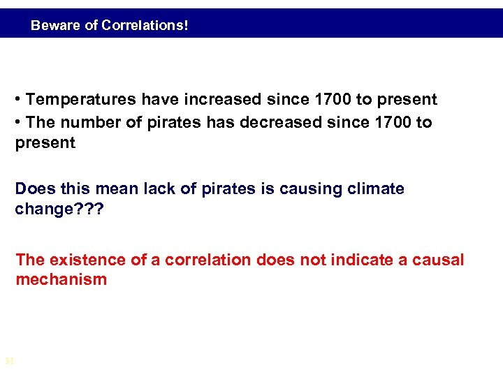 Beware of Correlations! • Temperatures have increased since 1700 to present • The number