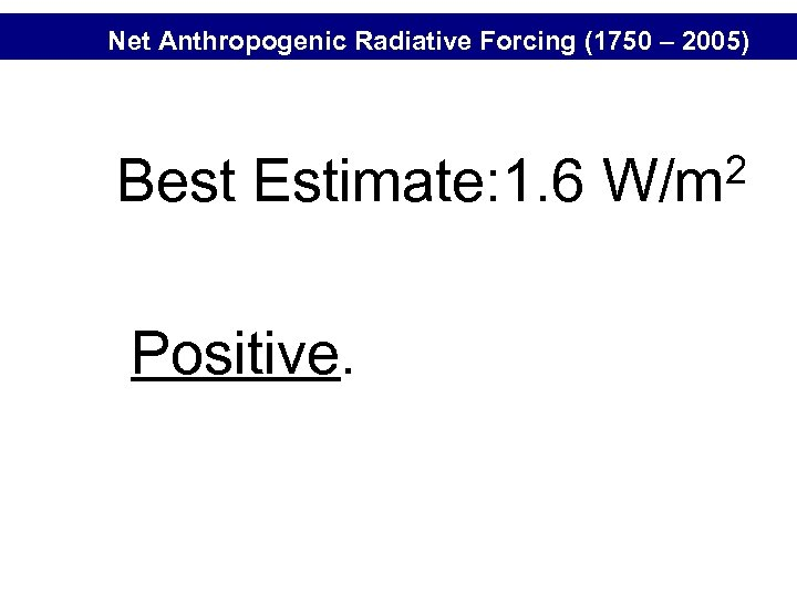 Net Anthropogenic Radiative Forcing (1750 – 2005) Best Estimate: 1. 6 Positive. 2 W/m