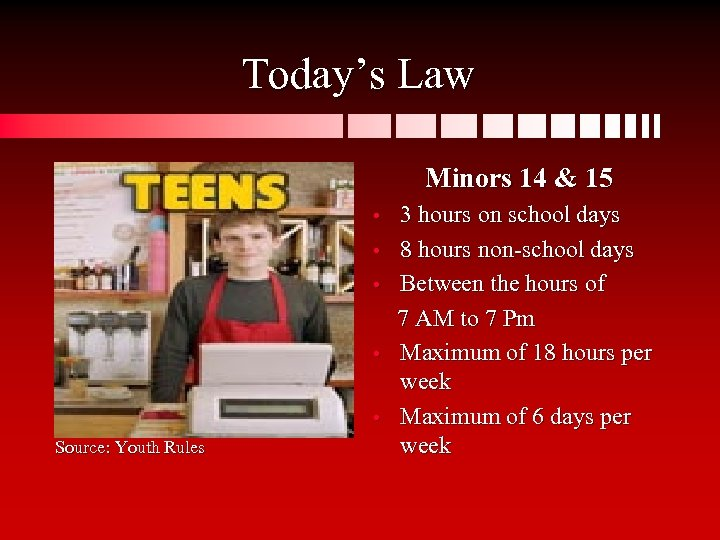 Today's Law Minors 14 & 15 • • • Source: Youth Rules 3 hours