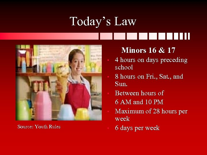 Today's Law Minors 16 & 17 • • Source: Youth Rules • 4 hours
