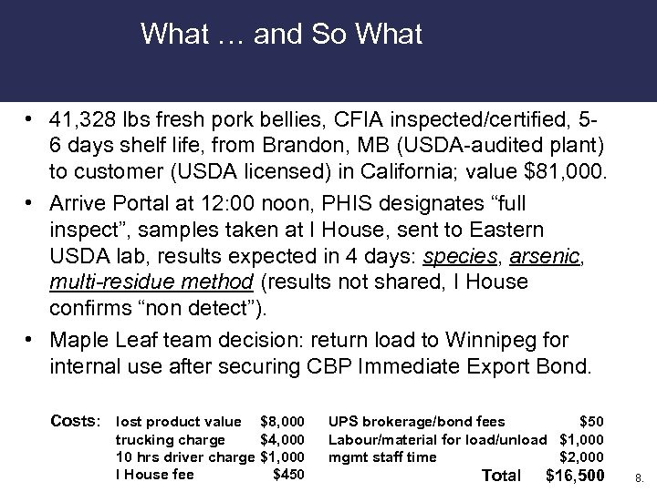 What … and So What • 41, 328 lbs fresh pork bellies, CFIA inspected/certified,