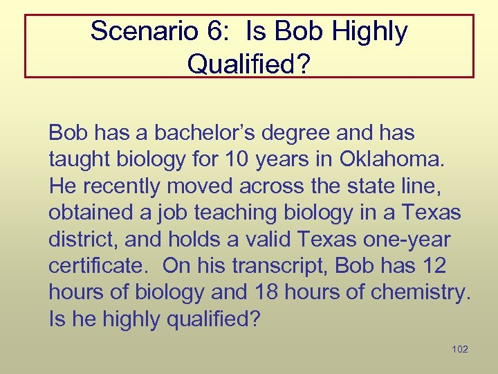 Scenario 6: Is Bob Highly Qualified? Bob has a bachelor's degree and has taught