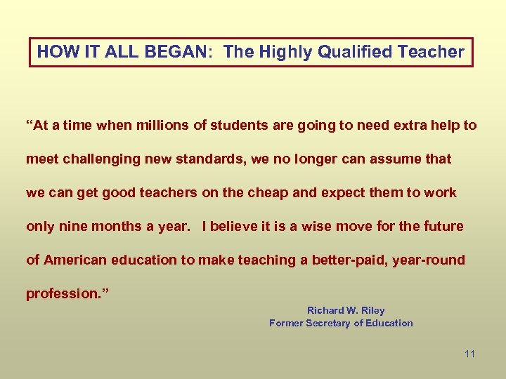 """HOW IT ALL BEGAN: The Highly Qualified Teacher """"At a time when millions of"""