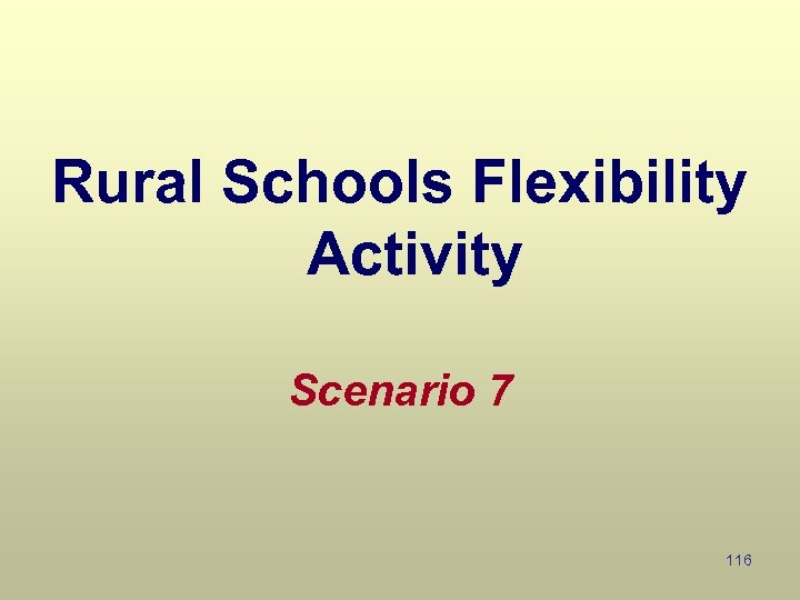 Rural Schools Flexibility Activity Scenario 7 116