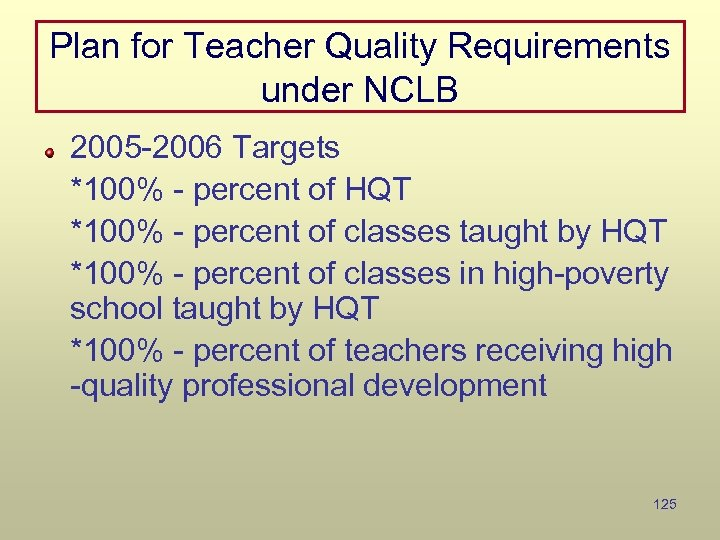 Plan for Teacher Quality Requirements under NCLB 2005 -2006 Targets *100% - percent of