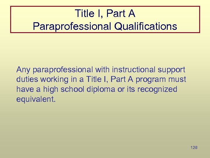 Title I, Part A Paraprofessional Qualifications Any paraprofessional with instructional support duties working in