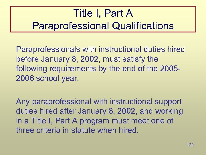 Title I, Part A Paraprofessional Qualifications Paraprofessionals with instructional duties hired before January 8,