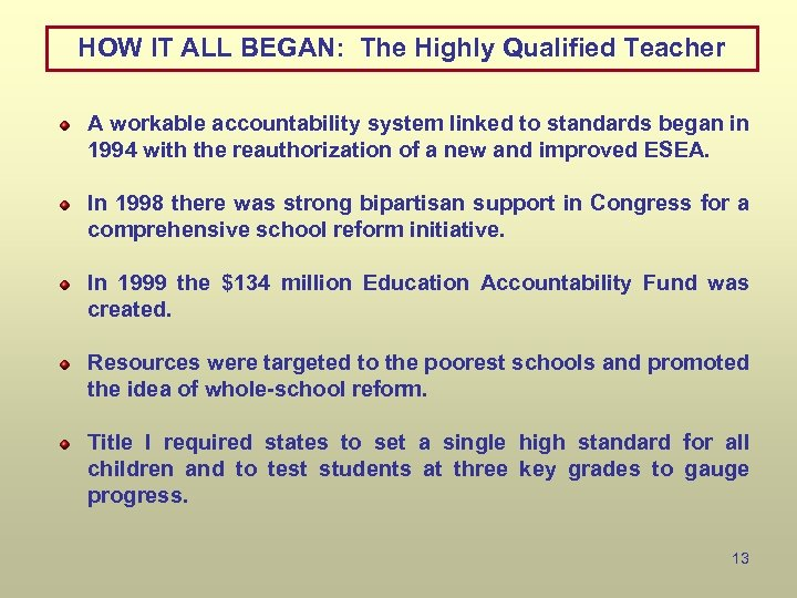 HOW IT ALL BEGAN: The Highly Qualified Teacher A workable accountability system linked to