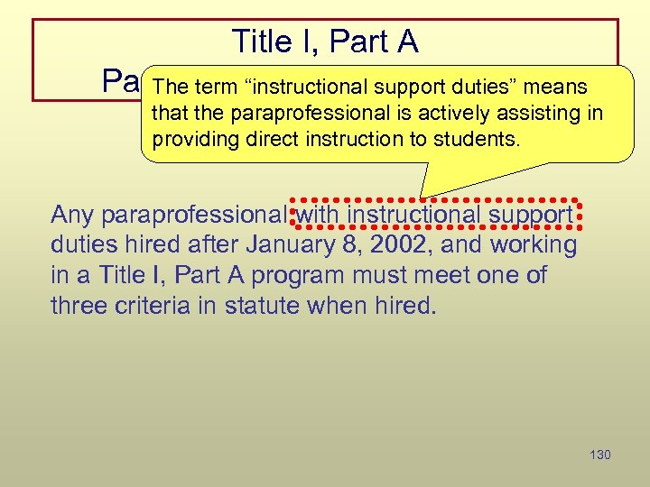 """Title I, Part A Paraprofessional Qualifications The term """"instructional support duties"""" means that the"""