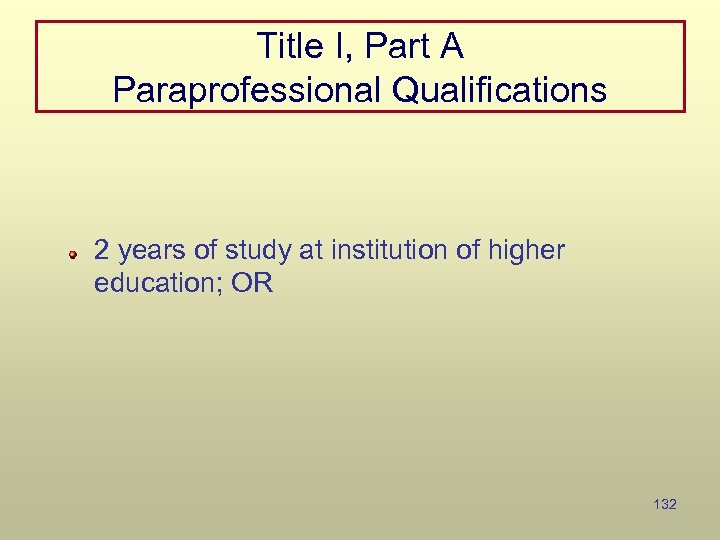 Title I, Part A Paraprofessional Qualifications 2 years of study at institution of higher