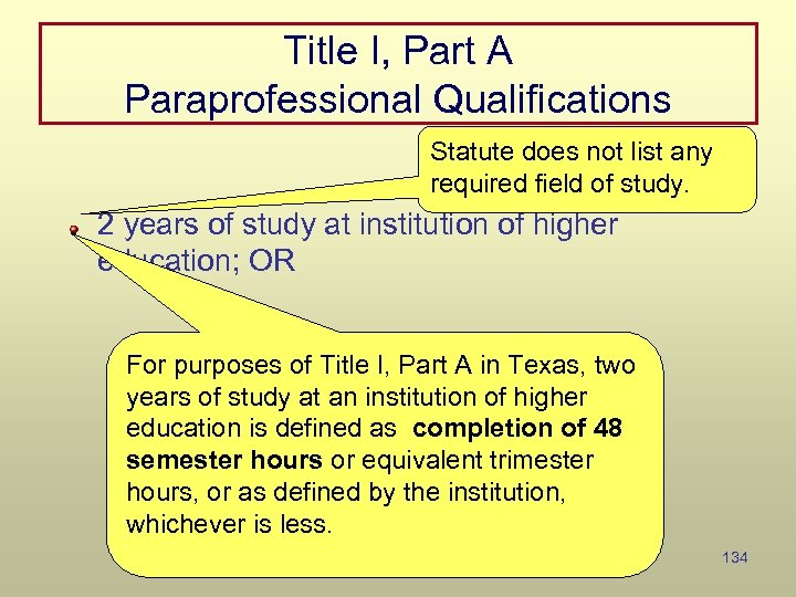 Title I, Part A Paraprofessional Qualifications Statute does not list any required field of