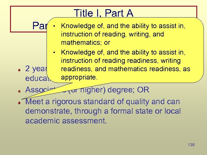 Title I, Part A • Knowledge of, and the ability to assist Paraprofessional Qualifications
