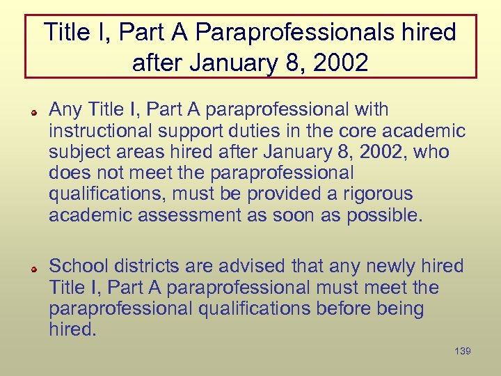 Title I, Part A Paraprofessionals hired after January 8, 2002 Any Title I, Part