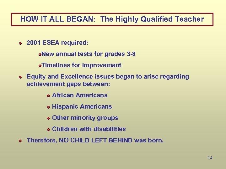 HOW IT ALL BEGAN: The Highly Qualified Teacher 2001 ESEA required: New annual tests