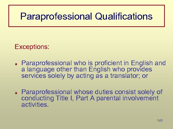 Paraprofessional Qualifications Exceptions: Paraprofessional who is proficient in English and a language other than
