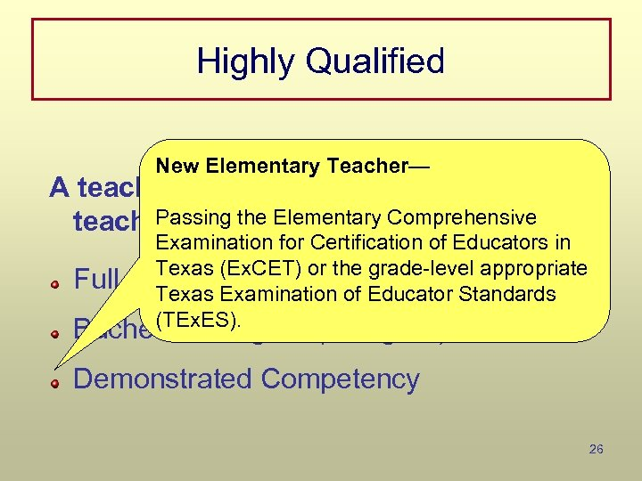 Highly Qualified New Elementary Teacher— A teacher meets NCLB definition if the Passing the