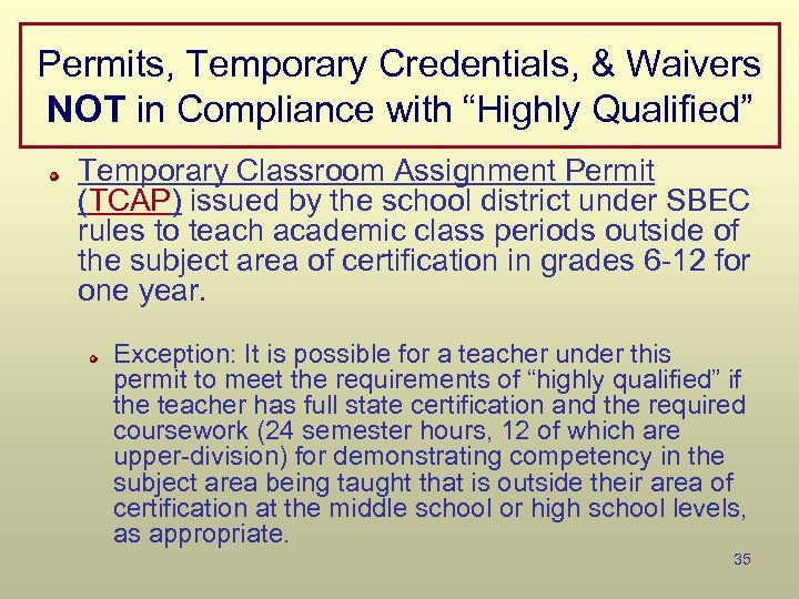"""Permits, Temporary Credentials, & Waivers NOT in Compliance with """"Highly Qualified"""" Temporary Classroom Assignment"""