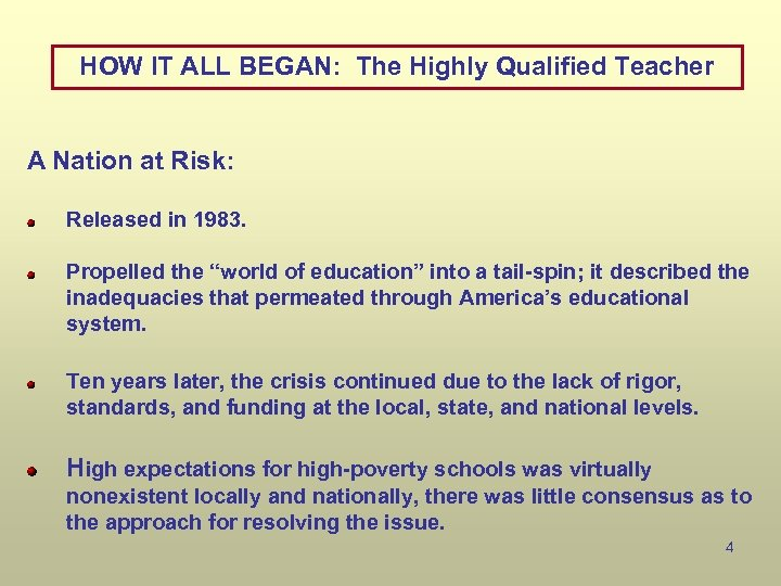 HOW IT ALL BEGAN: The Highly Qualified Teacher A Nation at Risk: Released in