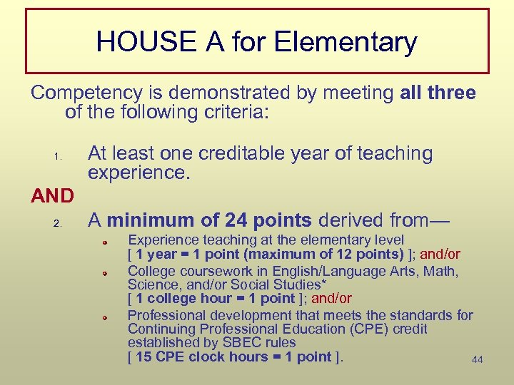 HOUSE A for Elementary Competency is demonstrated by meeting all three of the following