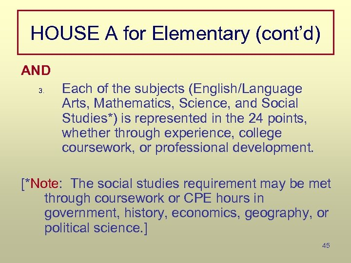 HOUSE A for Elementary (cont'd) AND 3. Each of the subjects (English/Language Arts, Mathematics,