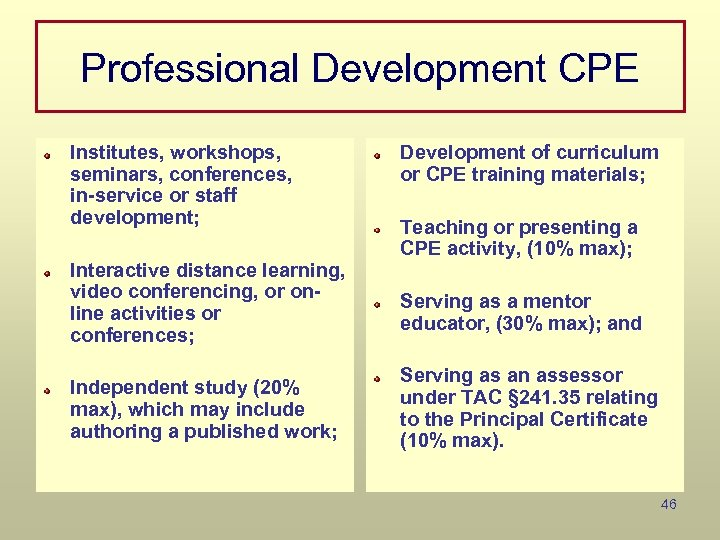 Professional Development CPE Institutes, workshops, seminars, conferences, in-service or staff development; Interactive distance learning,