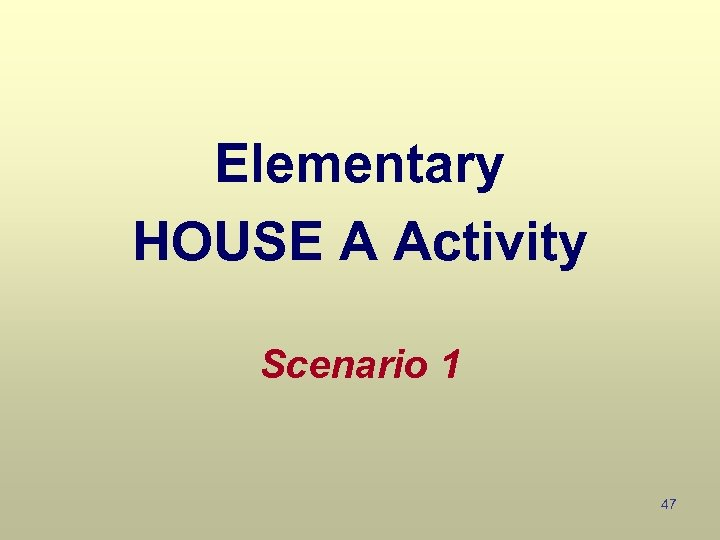 Elementary HOUSE A Activity Scenario 1 47