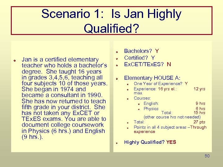 Scenario 1: Is Jan Highly Qualified? Jan is a certified elementary teacher who holds