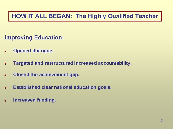 HOW IT ALL BEGAN: The Highly Qualified Teacher Improving Education: Opened dialogue. Targeted and