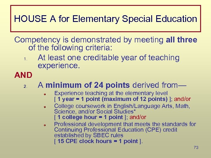 HOUSE A for Elementary Special Education Competency is demonstrated by meeting all three of