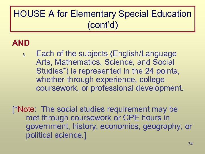 HOUSE A for Elementary Special Education (cont'd) AND 3. Each of the subjects (English/Language