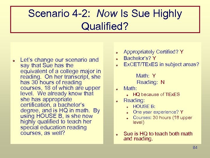 Scenario 4 -2: Now Is Sue Highly Qualified? Let's change our scenario and say