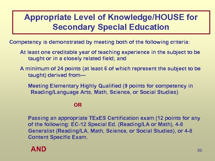 Appropriate Level of Knowledge/HOUSE for Secondary Special Education Competency is demonstrated by meeting both