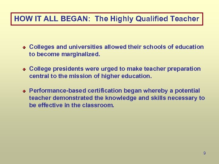 HOW IT ALL BEGAN: The Highly Qualified Teacher Colleges and universities allowed their schools