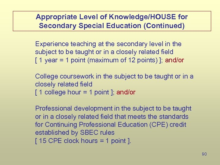 Appropriate Level of Knowledge/HOUSE for Secondary Special Education (Continued) Experience teaching at the secondary