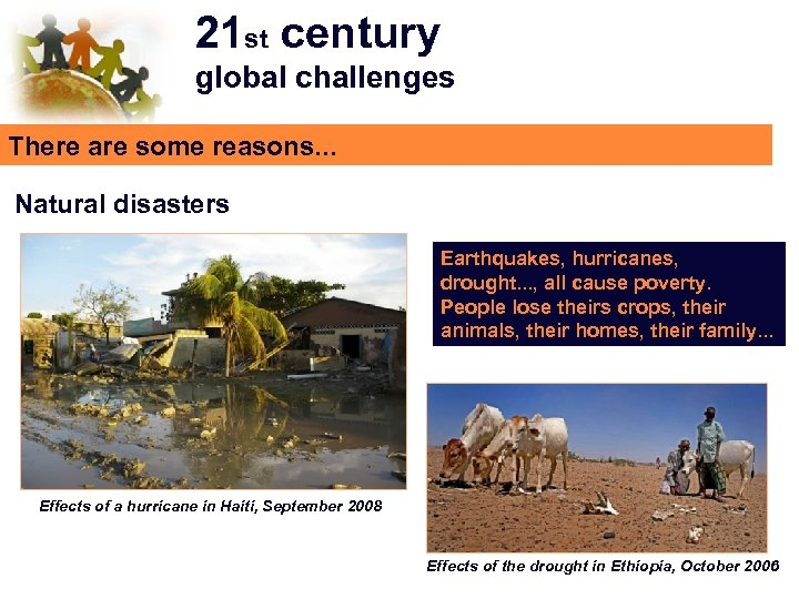 21 st century global challenges There are some reasons. . . Natural disasters Earthquakes,