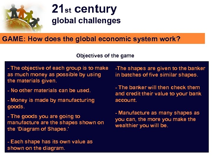 21 st century global challenges GAME: How does the global economic system work? Objectives