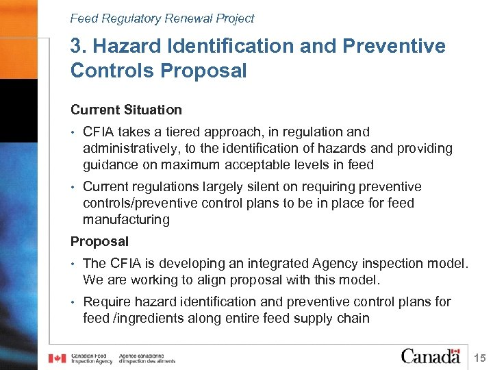 Feed Regulatory Renewal Project 3. Hazard Identification and Preventive Controls Proposal Current Situation •