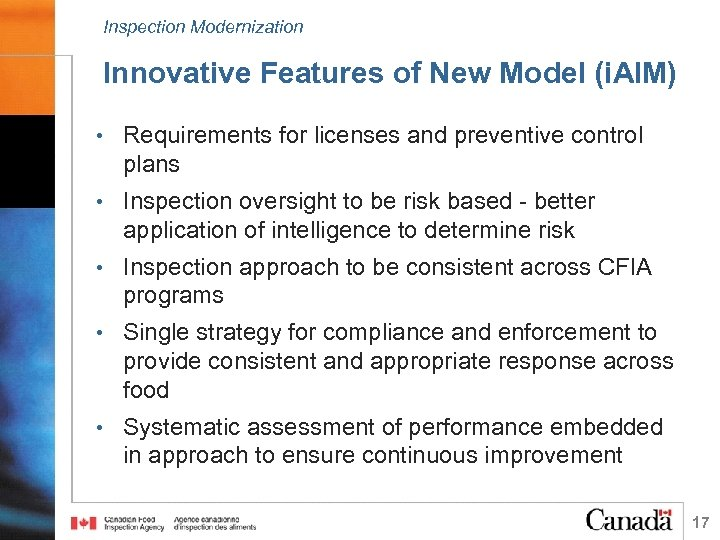 Inspection Modernization Innovative Features of New Model (i. AIM) • Requirements for licenses and