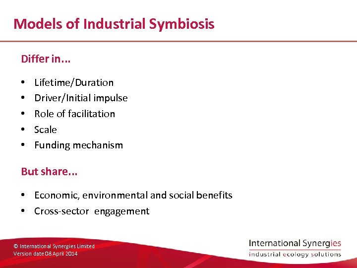 Models of Industrial Symbiosis Differ in. . . • • • Lifetime/Duration Driver/Initial impulse