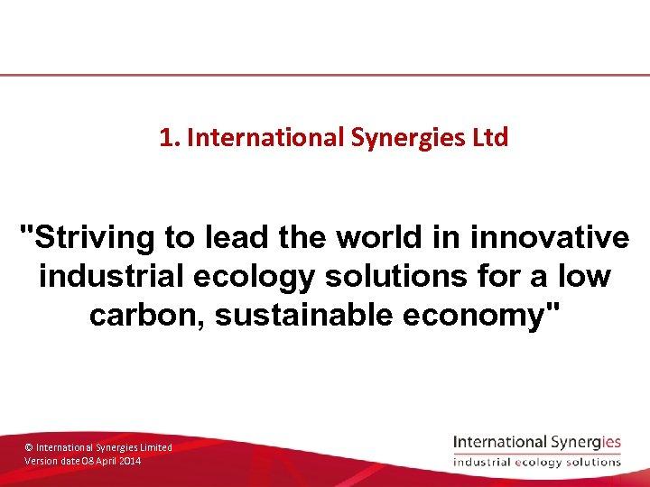 1. International Synergies Ltd
