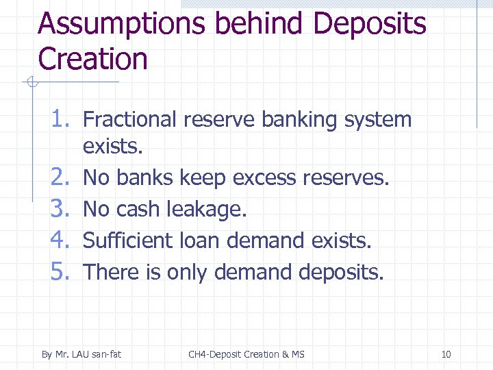 Assumptions behind Deposits Creation 1. Fractional reserve banking system 2. 3. 4. 5. exists.