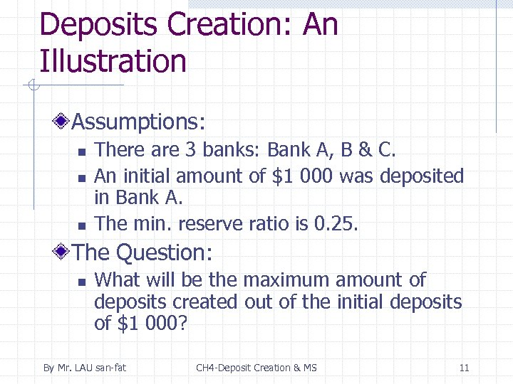 Deposits Creation: An Illustration Assumptions: n n n There are 3 banks: Bank A,