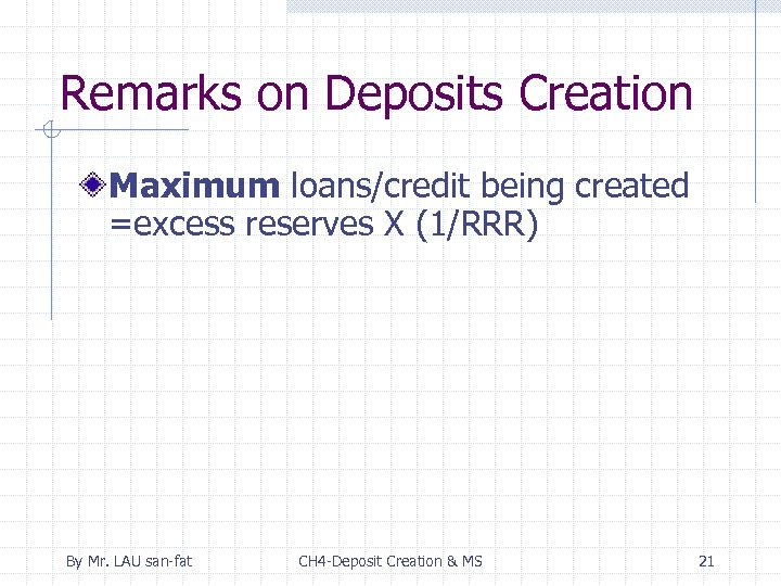 Remarks on Deposits Creation Maximum loans/credit being created =excess reserves X (1/RRR) By Mr.