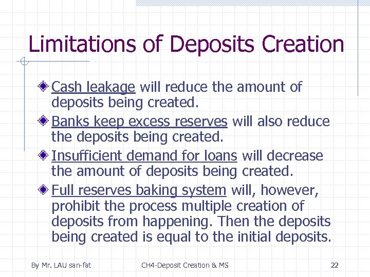 Limitations of Deposits Creation Cash leakage will reduce the amount of deposits being created.