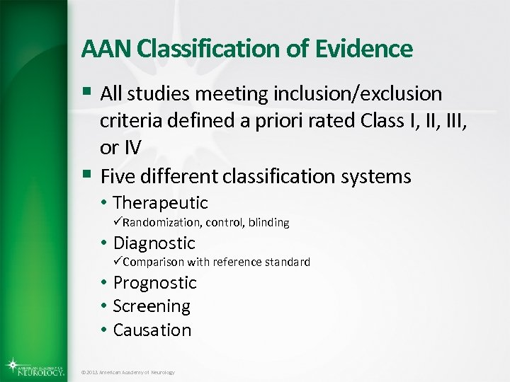 AAN Classification of Evidence § All studies meeting inclusion/exclusion criteria defined a priori rated