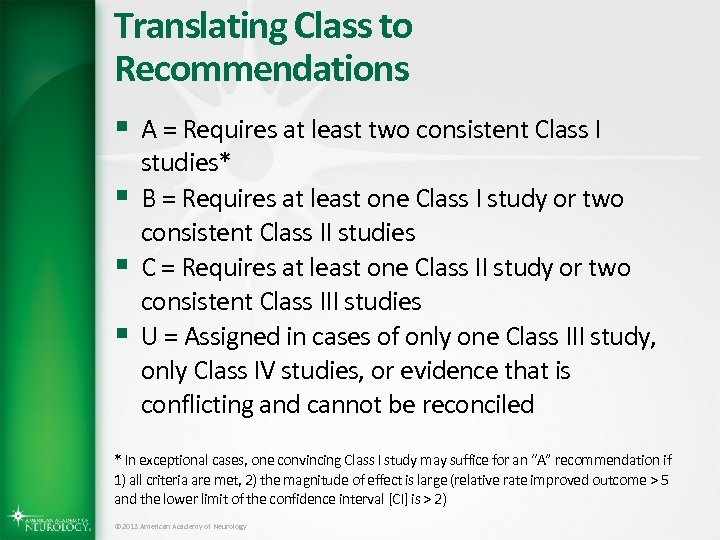 Translating Class to Recommendations § A = Requires at least two consistent Class I