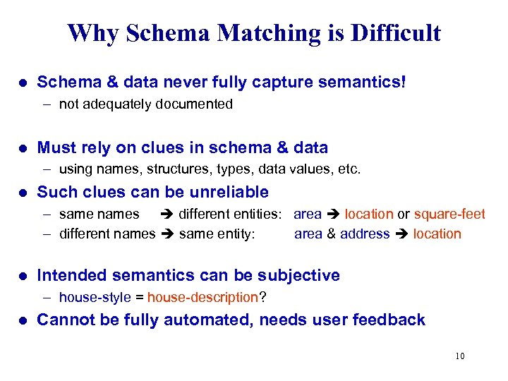 Why Schema Matching is Difficult l Schema & data never fully capture semantics! –