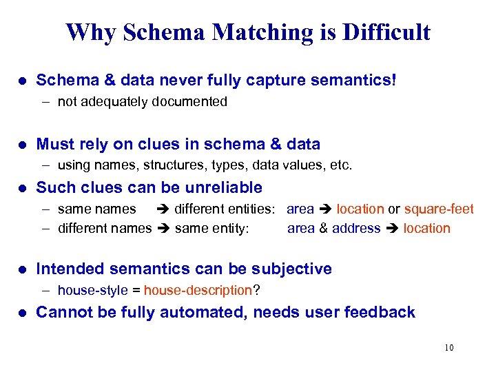 Why Schema Matching is Difficult l Schema & data never fully capture semantics! –