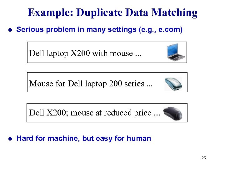 Example: Duplicate Data Matching l Serious problem in many settings (e. g. , e.